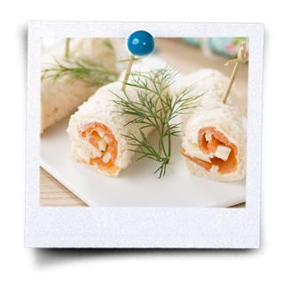 Roulade de pain au saumon fumé
